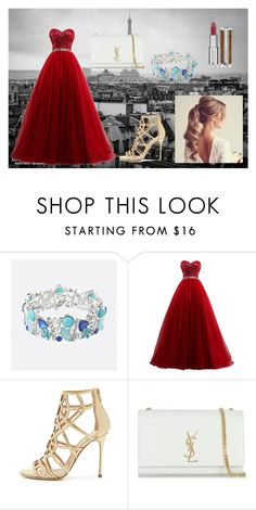 """RED"" by leidy-vanessa-munoz ❤ liked on Polyvore featuring Avenue, HUGO, Sergio Rossi and Yves Saint Laurent"