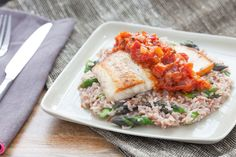 Pan-Seared Drum  and Tomato Jam with Himalayan Red Rice Risotto & Asparagus #fish