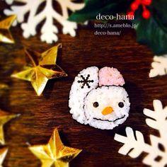 鼻が3Dです(●´∪`) - 133件のもぐもぐ - 『スノーマン』巻き寿司 by decohana1