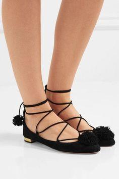 Aquazzura - Sunshine Pompom-embellished Suede Ballet Flats - Black - IT40.5