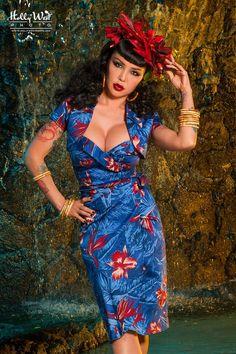 Deadly Dames Blue and Red Malibu Tiki Dress with Bolero