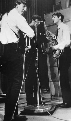 George Harrison,John Lennon and Paul McCartney at the Playhouse Theatre, London: May 21, 1963