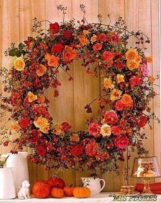 Fall wreath with autumn flowers, berries and vines - add a few pumpkins to the mantle for more fall ambiance Days Of A Week, Autumn Wreaths, Arte Floral, How To Make Wreaths, Fresh Flowers, Autumn Flowers, Autumn Colours, Colors, Fall Crafts