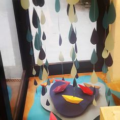 Hello July! #windowdisplay #workinprogress #puddles #paperboats #raindrops #monsoon #lovetherain :) we are still putting up the clouds..they are supe cute and puffy ☁