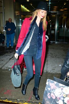 See how Behati Prinsloo and other celebrities stay chic in winter temperatures.