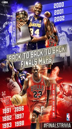 #FinalsTrivia: The only two players in NBA History to be named back-to-back-to-back Finals Most Valuable Player. #Shaq #MichaelJordan