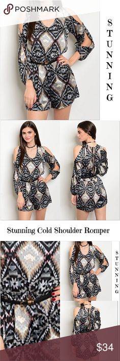 """Stunning Satin Like Cold Shoulder Romper SML Absolutely stunning cold shoulder, slit sleeve romper. Super soft satin like polyester in a tribal print in shades of indigo, gray, black, taupe, ivory & blush. Tie back closure. Elastic, stretchy waist with removable thin belt.   Small 2/4 Bust 32-34 Length 32"""" Medium 6/8 Bust 36-38 Length 33"""" Large 10/12 Bust 40"""" Length 34"""" Pants Jumpsuits & Rompers"""