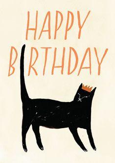 HELLO JENUINE CAT HAPPY BIRTHDAY CARD VIA Etsy