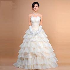 Cute Champagne Corset Layer Bridal Ball Gown Wedding Dresses Cheap SKU-120049