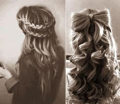 Waterfall Braids & Curled Bow