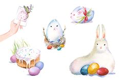 Check out Easter bunny watercolor clipart set by masha gross on Creative Market