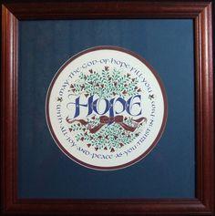 Framed Original art work Hope Roundel by Holly Monroe Calligraphy