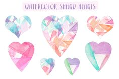 This Watercolor Heart Clip Art is Super Cute! Contains Bright, Vivid Colors with a Fun, Geometric Pattern.