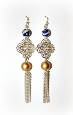 Wave Crest Medallion Chain earrings  Beaded by BohemianWhimSea, $15.00