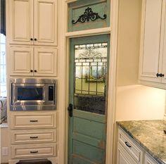 Teal pantry door