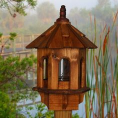 Bird Feeder, Wooden Bird Feeder, Posted Bird Feeder, Outdoor Bird Feeder…