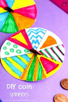 DIY coin or penny paper plate spinners are fun to make and play with your children. Great activity to watch and ideal for teaching children about mixing colours together. Pattern making. #pennyspinners #diytoys #coins #patternactivity #mixingcolors #mixingcolours #makingpatterns #diy #papertoys #papercraft #funforkids #preschooltoys #spinningtop #spinningtoys #paperplatecraft #paperplateactivity #paperplates #paperplate #spinningplates Crafts To Make, Easy Crafts, Crafts For Kids, Paper Plate Crafts, Paper Plates, Paper Spinners, Coin Crafts, Mixing Colours, Paper Toys