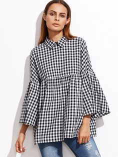 SheIn offers Black Gingham Bell Sleeve Babydoll Blouse & more to fit your fashionable needs. Blouse Styles, Blouse Designs, Hijab Fashion, Fashion Outfits, Women's Fashion, Mode Top, Gingham Shirt, Shirts & Tops, Mode Inspiration