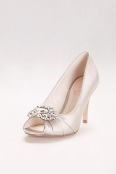A crystal detail at the toe gives these stunning satin peep toe heels a dazzling touch, while memory foam padding brings extra comfort. By Pink Paradox Satin 3 heel Imported Bridesmaids Heels, Pink Paradox, Bridal Wedding Shoes, Special Occasion Shoes, Prom Heels, Wedding Dress Accessories, Embellished Sandals, Peep Toe Shoes, Ankle Strap Heels