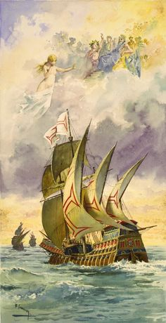 """16 December 1497, Vasco da Gama rounded the Cape of Good Hope and became the first European to sail the Indian Ocean.  Depicted below is a rather fanciful imagination (1880) by Ernesto Casanova of Vasco da Gama's ships at sea with the antique gods watching from above, an illustration of the Portuguese national epic """"Os Lusíadas"""" by Luís de Camões, written in honour of the great sailor, explorer, pirate and colonialist.   #history   #europeanhistory   #ageofexploration   #ageofsail"""