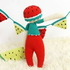 Crochet fruit Doll * Watermelon <3 { crochetpattern crochetlove amigurumi amigurumipattern crochet ganchillo patrondeganchillo amigurumilove slowdown ganchillo uncinetto crochetforkids haken häkeln virka }