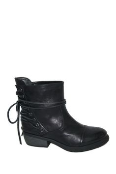"""Lucena Eyelet Bootie in black by Heart Soul $70 - $29 @HauteLook. - Round cap toe - Back lace-up tie closure with eyelet detail - Stacked heel - Approx. 6"""" shaft height, 13"""" opening circumference - Manmade upper and sole"""