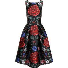 Chi Chi London Floral Printed Midi Dress ($88) ❤ liked on Polyvore featuring dresses, black multi, women, midi cocktail dress, black evening dresses, holiday cocktail dresses, little black dress and evening dresses