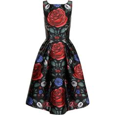 Chi Chi London Floral Printed Midi Dress ($89) ❤ liked on Polyvore featuring dresses, black multi, women, fit and flare dress, little black dress, little black cocktail dresses, sleeveless cocktail dress and black dress