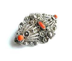 Sterling Silver Cannetille Coral Brooch Pin by TreasuresOfGrace