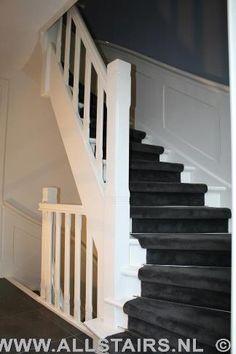 House Stairs, Carpet Stairs, Grey Hallway, Black Carpet, House Inside, Luxury Living, Stairways, Sweet Home, Interior Design