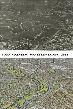 Malvern & Waverley Roads 1929 - 2017.   Looking East along Waverley road towards Warrigal Road from Malvern East.   Black Bridge can be seen spanning the now Malvern Valley Golf course. Middle left of photo.   The Convent of the Good Shepherd can be seen where Chadstone Shopping Centre is now. Top right of photo. Melbourne Suburbs, The Good Shepherd, Melbourne Victoria, St Kilda, Shopping Center, Where The Heart Is, Historical Photos, Old Photos, City Photo