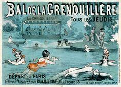 Bal de la Grenouillère tous les jeudis  Illustration 1880 Source Gallica Un cabaretier de Croissy-sur-Seine, le père Seurin, établit au bord de l'île un bateau-ponton abritant une immense salle de bal et de restauration, ainsi qu'une longue péniche de cabines de bain. Seurin est aussi le concessionnaire du bac permettant de traverser le fleuve depuis Rueil-Malmaison jusqu'à Croissy-sur-Seine en passant par l'île et donc par son établissement.
