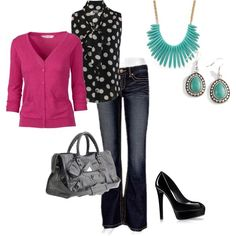 Casual Friday Work Outfits | Great casual friday work outfit. splash of pink, ... | Work Wear