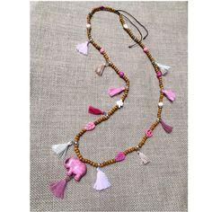 collar boho elefante rosa