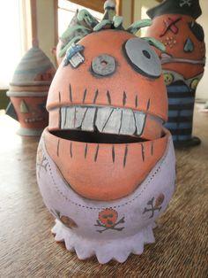 Pottery Skull Jar  Scully!