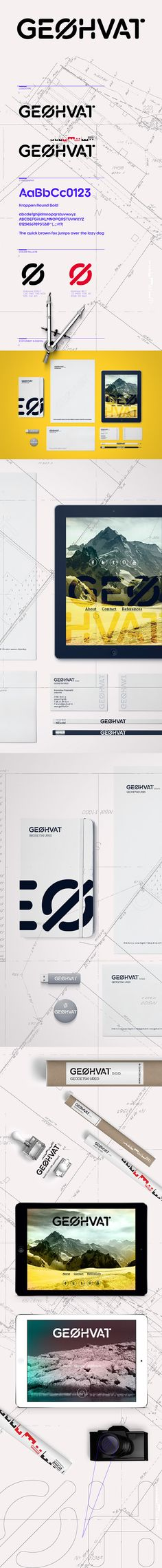 "Visual identity of GEØHVAT geodetics engineering firm.Visual identity is based on simple stencil typography symbolizing the character of geodetic blueprints and drafts. The letter ""O"" is transformed into Φ (fi). Identification of circular cross-section …"