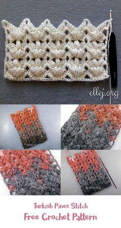 Turkish Pines Stitch Free Crochet Pattern #crochet #crafts #homedecor #handmade #style #idea