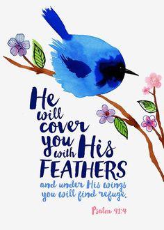Salmos 91:4-con sus plumas te cubrirá, y debajo de sus alas estarás seguro