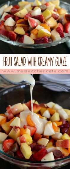 with Glazed Dressing This fresh fruit salad with creamy glaze is divine and so easy to make.This fresh fruit salad with creamy glaze is divine and so easy to make. Fruit Salad With Yogurt, Fresh Fruit Salad, Fruit Salad Recipes, Jello Salads, Easy Fruit Salad, Creamy Fruit Salads, Drink Recipes, Healthy Snacks, Healthy Recipes