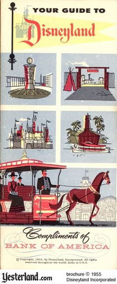 1955 Disneyland Brochure...maybe with a gray silhouette of mickey in the flag instead of castle since I want the castle by itself also