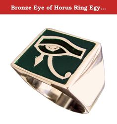 Bronze Eye of Horus Ring Egyption Eye of Ra Osiris Ring - Size 7. A solid piece of silversmithing with a green enamel background, wearing this eye of Horus ring is making a bold statement. Our bronze occult rings all feature our signature anti-tarnish alloy, which keeps them shining like new for years. The Process First a chunk of wax is carefully sculpted into the shape of the ring, the wax prototype is then used to form a plaster mold. Next, castings can be made with molten metal, ie....