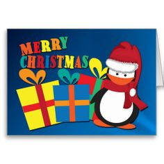 Christmas Penguin And Colorful Gift Boxes from #Ricaso
