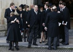 Legacy:  Prime Minister Winston Churchill's grandson Sir Nicholas (centre) remains involved in the world of Westminster politics. Here he is after the memorial service for his mother, Lady Mary Soames, who died in May 2014, today 20 November 2014.