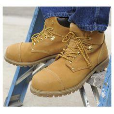 Men's Rugged Blue Steel Toe Boots via Construction Gear Guru Blog