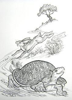 Disegno da colorare la lepre e la tartaruga scuola for Lepre disegno da colorare