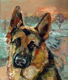 "Draw Animals Daily Paintworks - ""Winter Melancholy I - dog, German shepherd"" - Original Fine Art for Sale - © adam deda - Animal Paintings, Animal Drawings, Art Drawings, Custom Dog Portraits, Pet Portraits, German Shepherd Painting, Realism Art, Dog Art, Illustration"