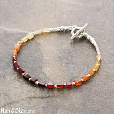 Mexican fire opal and Hill Tribe silver beaded bracelet, primitive hand cut ombre opal, Karen Hill Tribe nuggets, skinny layering bracelet by NanandBiz