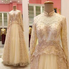 Cheap Bordato collo alto a maniche lunghe in tulle abito da sposa oro musulmano…