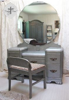 """Vintage Art Deco Waterfall Dressing Table/Vanity with Bench - Zinc Finish - Gorgeous Large 40"""" Beveled Mirror"""