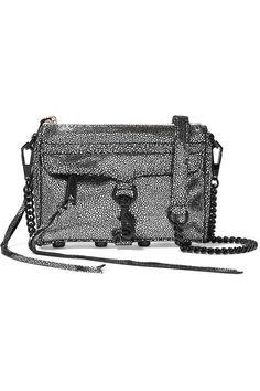 REBECCA MINKOFF Micro Mac Metallic Stingray-Effect Leather Bag. #rebeccaminkoff #bags #shoulder bags #clutch #metallic #leather #hand bags